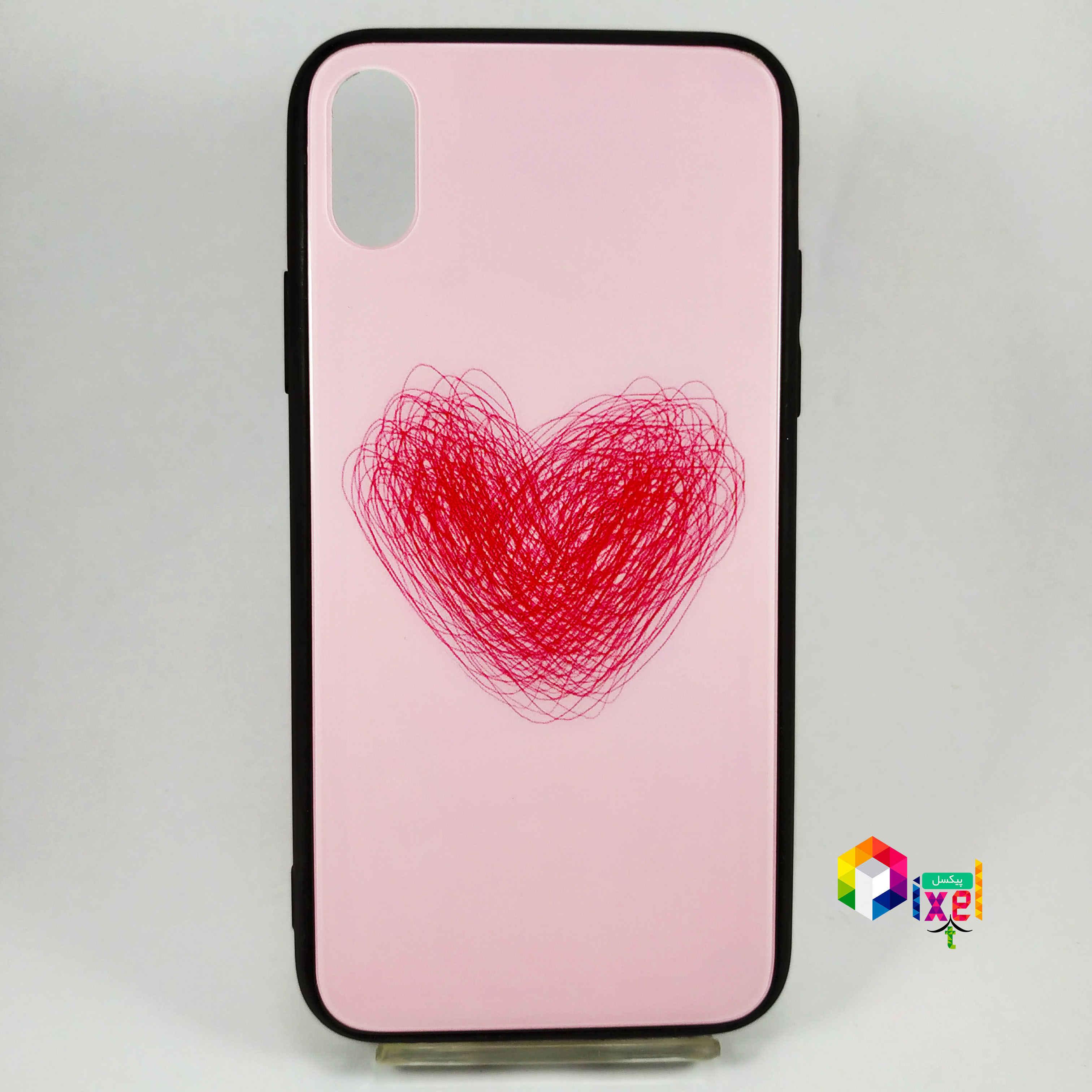 قاب فانتزی پشت گلس قلبی iPhone X , iPhone XS